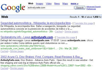 ActivelySafe.com Google Search