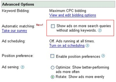 automatic match in Google AdWords campaign