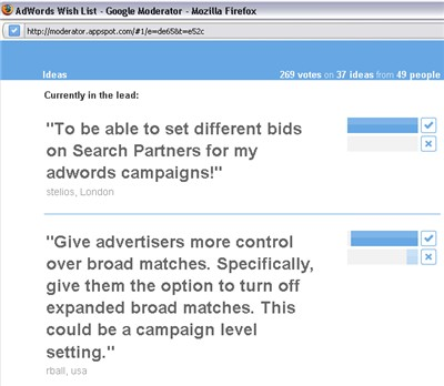 Google AdWords Product Feedback