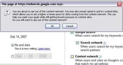 adwords content network warning