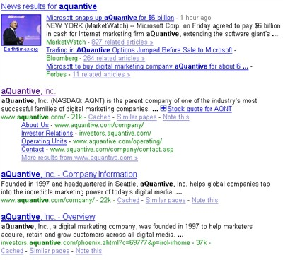 aquantive news in google search