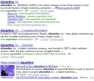 aquantive google universal search