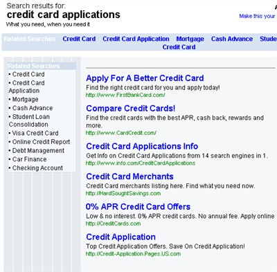 parked domain ads for credit card applications