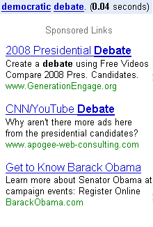 democratic debate google ads
