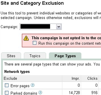 domain clicks Google AdWords Feature: AdSense for Domains Opt Out