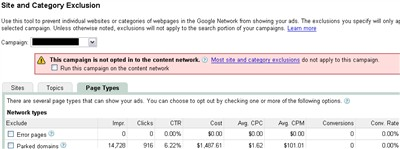 Google AdWords parked domain stats