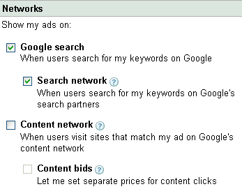 adwords networks settings