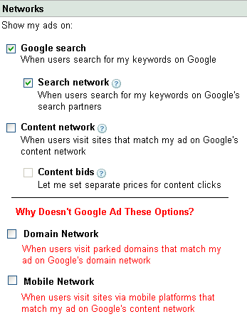 Google AdWords Network Choices