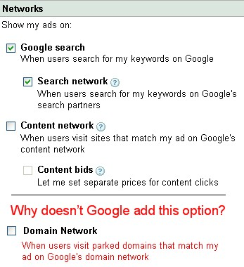 google adwords parked domains network