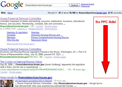 financialservices.house.gov Google search - no PPC ads