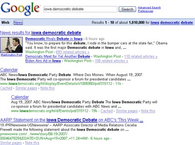 iowa democratic debate search