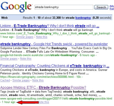 etrade bankruptcy Google search