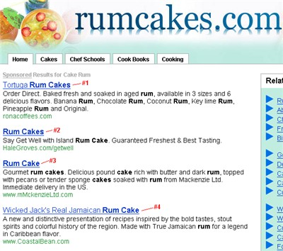 yahoo ads on rumcakes.com