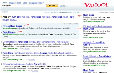 yahoo search ads for rum cakes