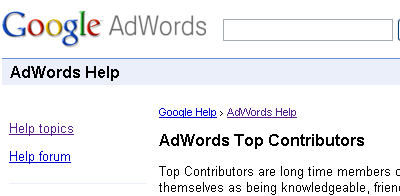 AdWords Help Top Contributors
