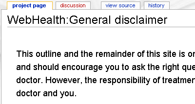 WebHealth.com Disclaimer