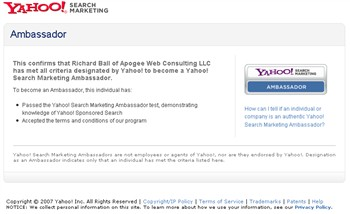 yahoo search marketing ambassador